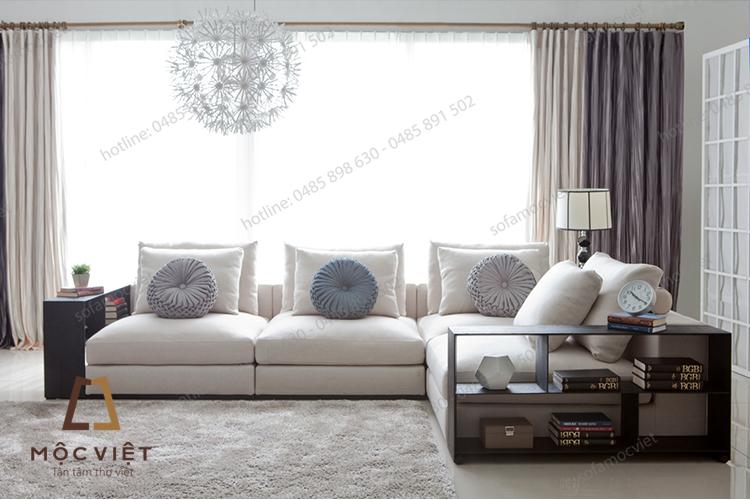 Màu sắc ấn tượng của sofa nỉ phòng khách